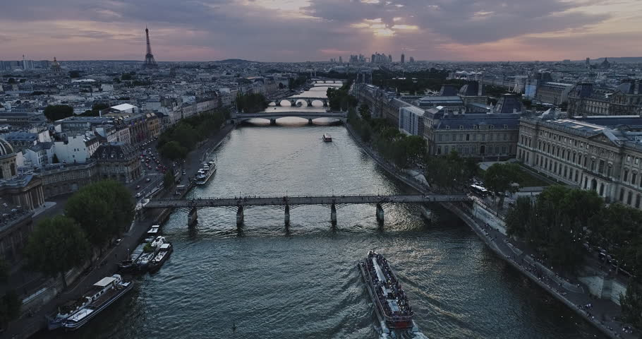 Aerial view of Paris with Seine river during sunset | Shutterstock HD Video #29543665