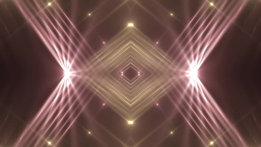 VJ Fractal red kaleidoscopic background. Background gold motion with fractal design on black background. Disco spectrum lights concert spot bulb. Light Tunnel. Seamless loop.