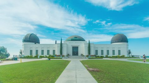 Cinematic 4K timelapse in motion or hyperlapse of Griffith Observatory Park entrance in Los Angeles, California.