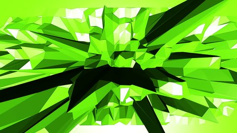 Green low poly background pulsating. Abstract low poly surface as fine background in stylish low poly design. Polygonal mosaic background with vertex, spikes. Cool modern 3D design