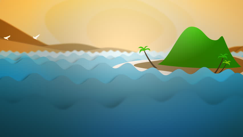 Cartoon Animated Ocean Waves and Island at Sunset with Birds - Cartoon paper cut-out style animation of an island at sunset in a stylized, wavy ocean.  A flock of birds passes above the island. - HD