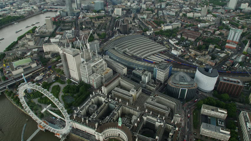 Aerial panorama of central London, UK. The River Thames, Waterloo and Houses of Parliament. Helicopter view in 4K. | Shutterstock HD Video #29672095