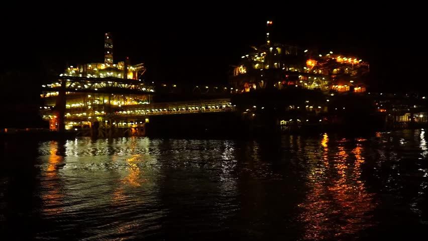 Night scenery of drilling offshore platform at Baronia Field,Sarawak,South China Sea.