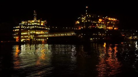 Night scenery of drilling offshore platform at Baronia Field,Sarawak,South China Sea.