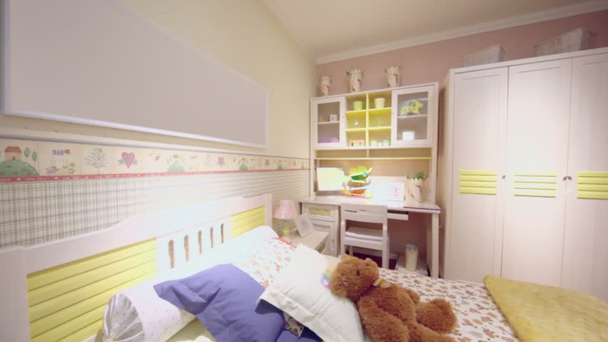 Girls Bedroom With Many Furniture And Pink Color Wallpapers, Shown In  Motion   HD Stock