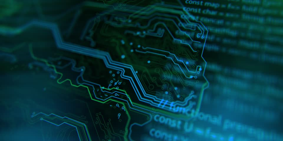 Terminal video. Technology background. Circuit board futuristic server code processing. PCB, Code, HTML. Blue, green background with digital integrated network technology. Printed circuit board.  | Shutterstock HD Video #29746375