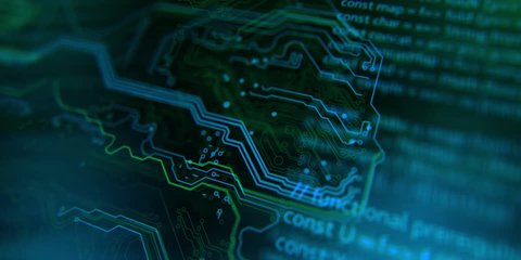 Terminal video. Technology background. Circuit board futuristic server code processing. PCB, Code, HTML. Blue, green background with digital integrated network technology. Printed circuit board.