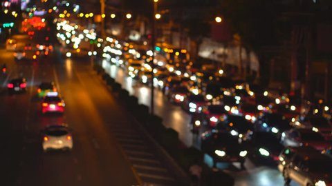 Abstract blurred traffic jam at Rama IV road on twilight, traffic jam on rush hour