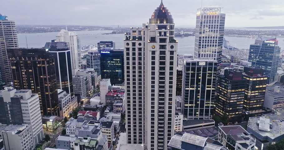 Aerial view of Auckland city skyline & skytower in the evening sunset, New Zealand. 22 February 2017 | Shutterstock HD Video #29747779