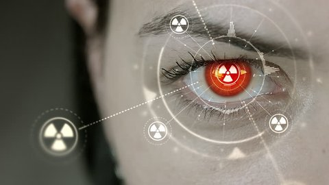 Young cyborg female blinks then nuclear symbols appears. 4K+ 3D animation concept.