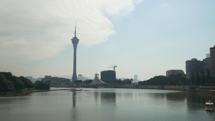 Macau cityscape sunny day blue sky coastline tower panorama 4k china | Shutterstock HD Video #29782795