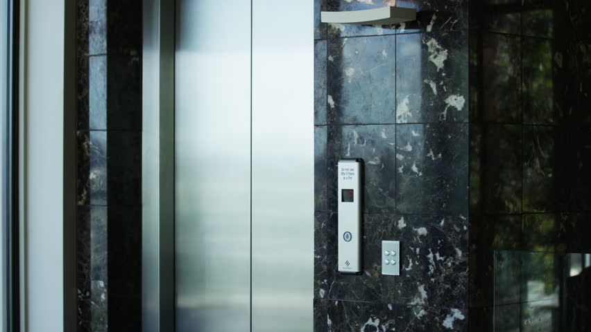 stainless steel elevator doors with marble walls - 4K stock video clip & Stainless Steel Elevator Doors With Marble Walls Stock Footage Video ...