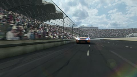 Race car along the racetrack. Tow version of background. CG Animation - hight quality, fullHD