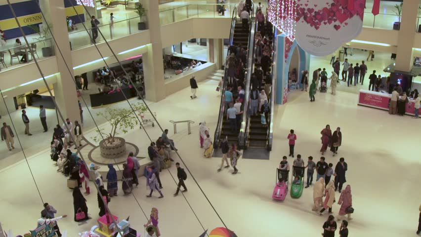 Famous Mall in Karachi Crowded with people from all walks of life.  Karachi, Pakistan. 15th February 2017