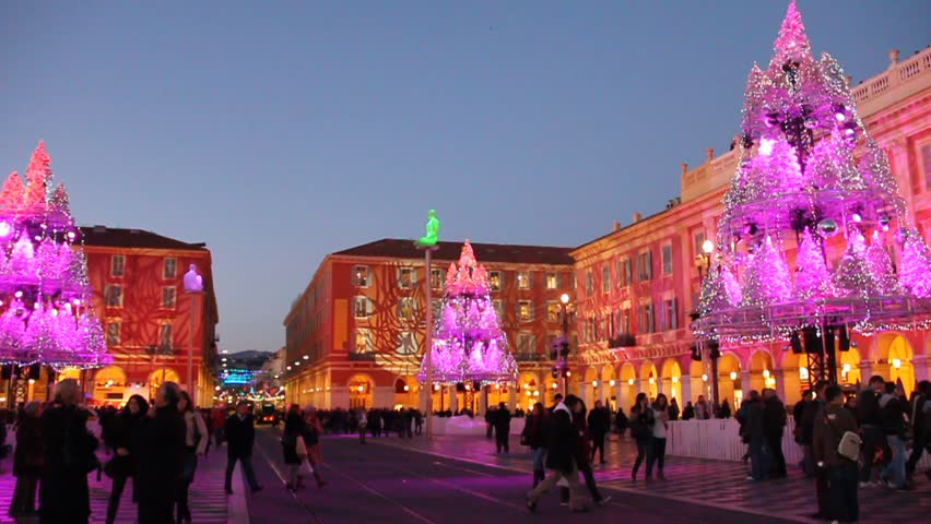 NICE DECEMBER 20, 2011. Christmas market in Place Massena on December 20, 2011 in Nice, France. The square is decorated every year includes activities like ice skating and a giant ferris wheel.