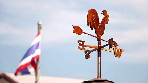 wind direction indicator weathercock with Thai flag on a blue background