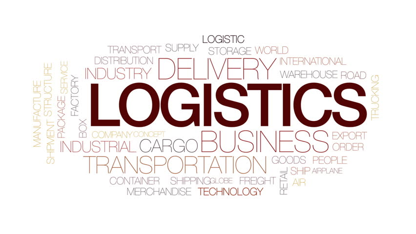 Logistics animated word cloud, text design animation. Kinetic typography.