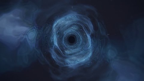 Camera Fly-through a Cosmic Wormhole Tunnel Vortex Cloudy in Blue