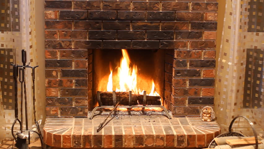 Burning Wood In Stone Fireplace Stock Footage Video 2988826 ...