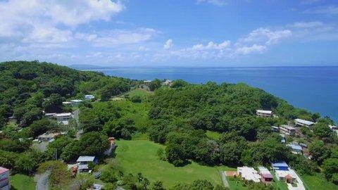 Beautiful Aerial of Greenery and Ocean in coast of Puerto Rico
