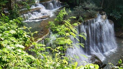 Huai Mae Khamin Waterfall in Khuean Srinagarindra National Park. Kanchanaburi, Thailand.