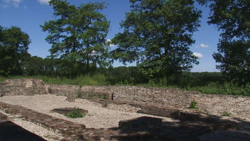 SCHOKLAND, NOORDOOSTPOLDER, THE NETHERLANDS - APRIL 2012: Ruins of 14th century church Ens - pan reclaimed land. Schokland has vestiges of human habitation going back to prehistoric times.