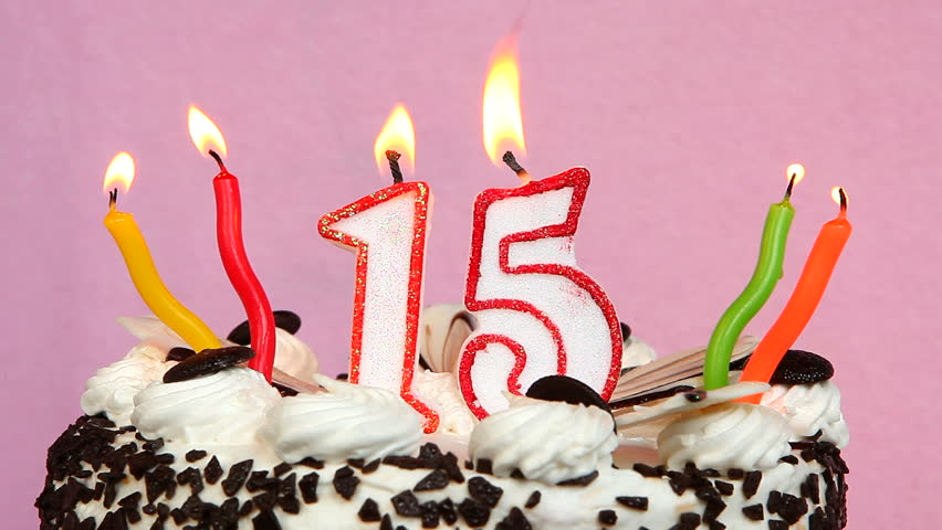 Happy 15 Birthday With Cake And Candles On Pink Background