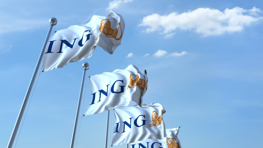 Waving flags with ING logo against sky, seamless loop. 4K editorial animation