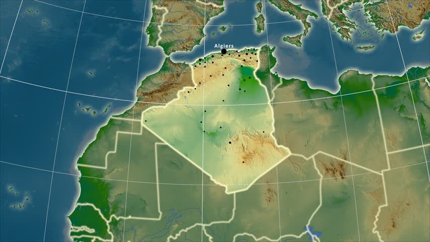 Algeria Map Stock Footage Video Shutterstock - Algeria physical map