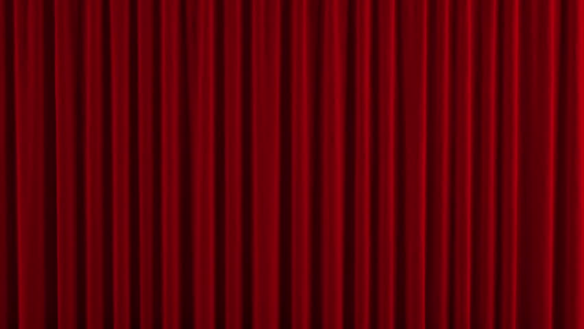 Red Theater Curtain. High Quality Computer Animation.   HD Stock Video Clip
