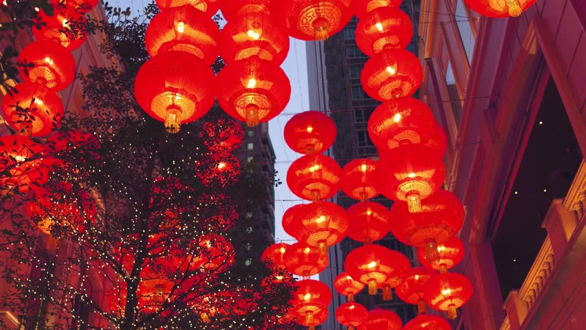 Chinese new year red paper latern decoration in Hong Kong city. | Shutterstock HD Video #30031015