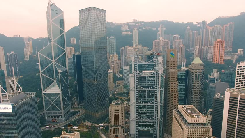 Hong Kong aerial Famous skyscrapers Bank Tower 4k | Shutterstock HD Video #30043690