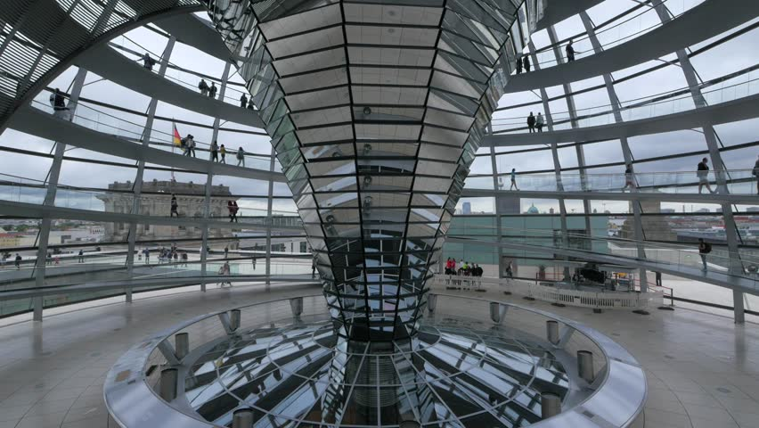 BERLIN - CIRCA JULY, 2017: Reichstag Dome interior view. The Reichstag dome is a glass dome, designed by architect Norman Foster and built to symbolize the reunification of Germany.