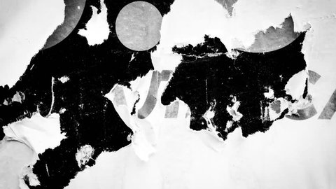 Old posters black and white abstract grunge texture wall  backdrop placard / Seamless loop collage paper slideshow background