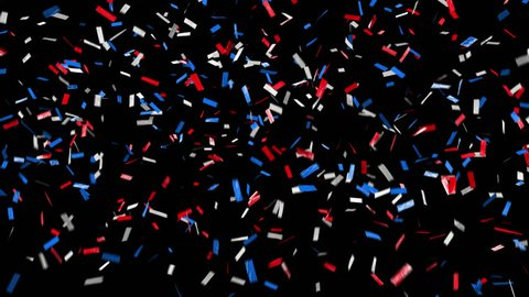 Red, white, blue with alpha channel, pre-keyed, background is transparent. Patriotic and loopable confetti. ProRes 4444 with transparency means this confetti can go over anything! Ticker tape style.