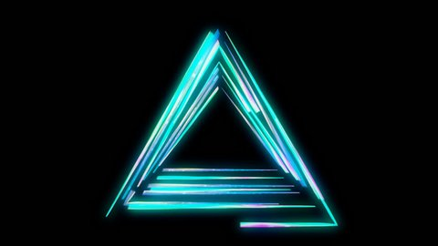 Glowing triangular 3D UI element with Alpha Channel. Illuminated geometric triangle and pyramid shapes transforming in a seamless loop.