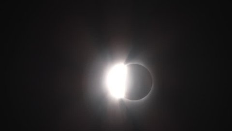 From totality to bright sun flare during August, 2017 total solar eclipse in Oregon.