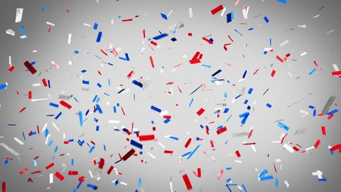 Patriotic red, white and blue confetti! Loopable. Celebrate independence and love of country. Ticker tape style confetti falling over a white background. See portfolio for similar and much more!