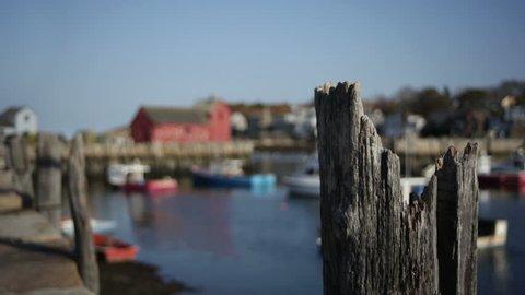 Rack focus in shot of Motif #1 in Rockport Massachusetts