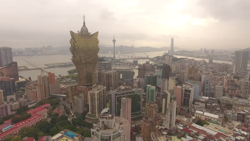 Aerial shot of the classic casino strip and skyline of Macau China