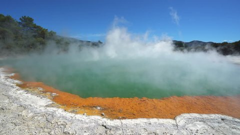 Steaming boiled geothermal water - New Zealand, Rotorua, Waiotapu