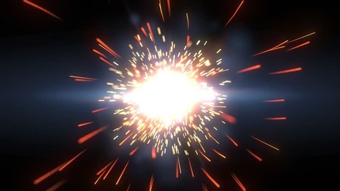 Bright particle flash explosion with flare, sparks and streaks in blue orange and yellow