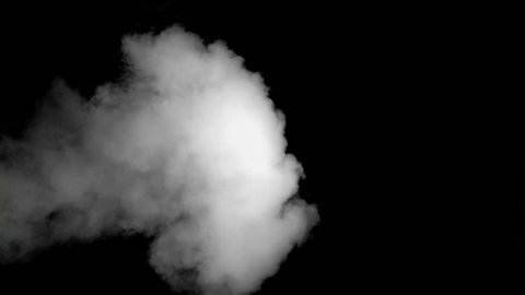 White smoke in super slow motion coming against a black background