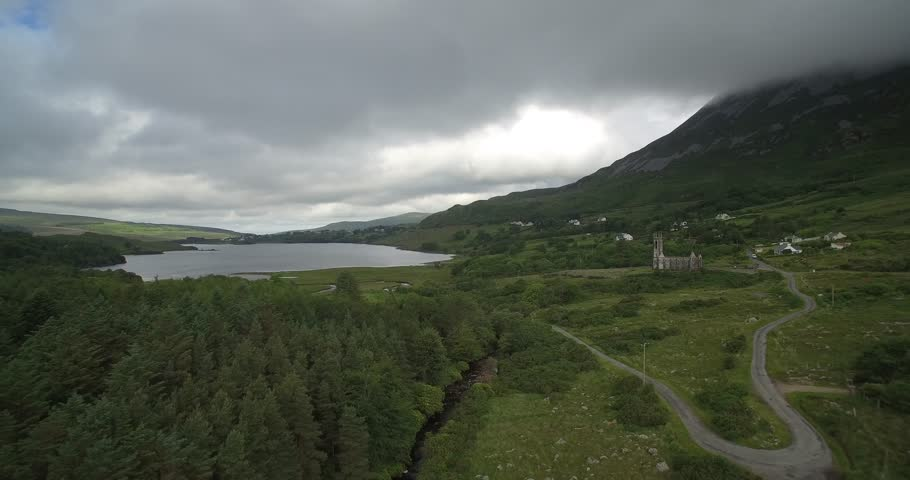 Aerial, Poison Glen And Dunlewey Church Ruin, County Mayo, Ireland - Native Version