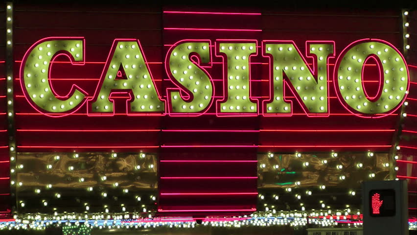 "LAS VEGAS, NEVADA - JANUARY 4: The word ""Casino"" in neon lights on famed Fremont Street in Las Vegas, Nevada on January 4, 2012"