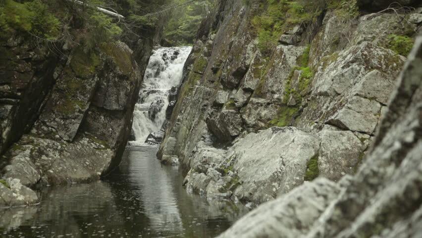 Waterfall flows in Feldspar brook.