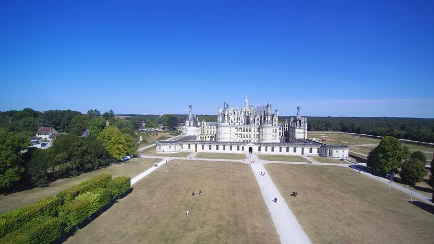 Drone footage over Château de Chambord, a Royal Renaissance castle in France's Loire Valley.