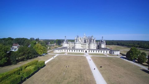 Drone footage over Château de Chambord, a Royal Renaissance castle in France's Loire Valley.