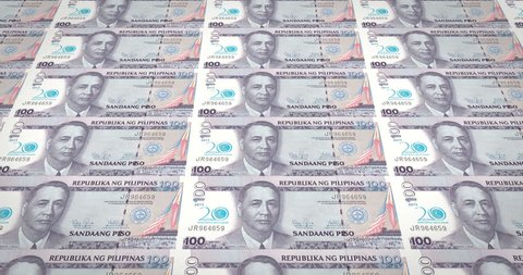 Banknotes of one hundred Philippine pesos of Philippines, cash money, loop