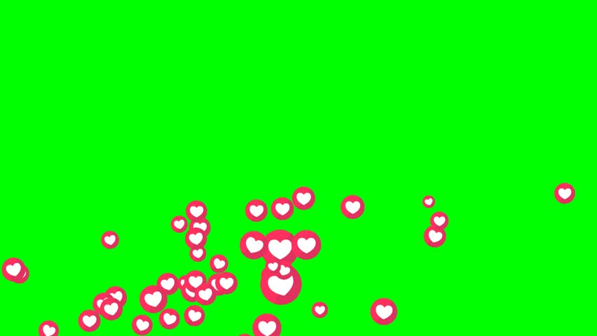 Social love heart icon symbol animation across on green screen